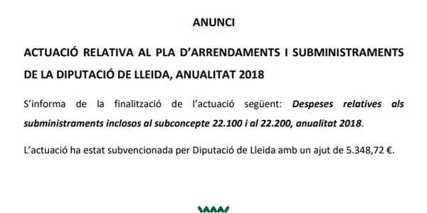 Actuació relativa al pla d'arrendaments i subministraments de la Diputació de Lleida, anualitat 2018