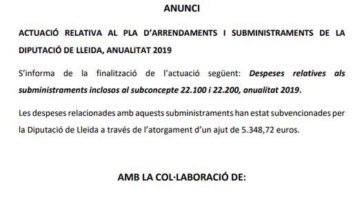 Actuació relativa al pla d'arrendaments i subministraments de la Diputació de Lleida, anualitat 2019