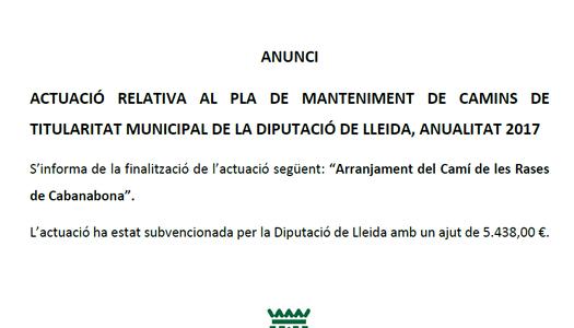 Actuació relativa al pla de manteniment de camins de titularitat municipal de la Diputació de Lleida