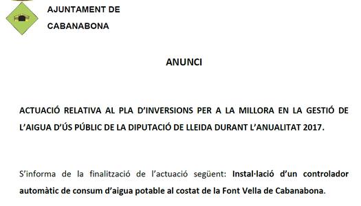 Actuació relativa al pla d'inversions per a la millora en la gestió de l'aigua d'ús públic de la Diputació de Lleida durant l'anualitat 2017