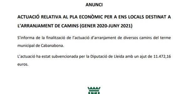 Actuació relativa al pla econòmic per a ens locals destinat a l'arranjament de camins (gener 2020-juny 2021)