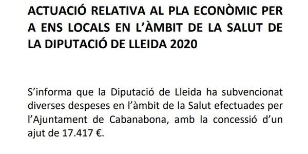 ACTUACIÓ RELATIVA AL PLA ECONÒMIC PER A ENS LOCALS EN L'ÀMBIT DE LA SALUT DE LA DIPUTACIÓ DE LLEIDA 2020