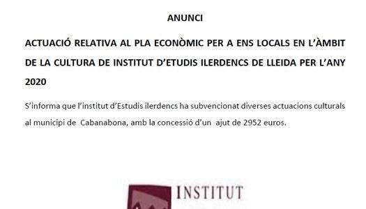 Actuació relativa al pla econòmic per a ens locals en l'àmbit de la cultura de Institut d'Estudis Ilerdencs de Lleida per a l'any 2020