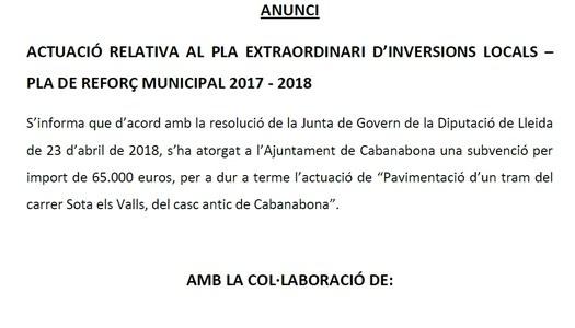 ACTUACIÓ RELATIVA AL PLA EXTRAORDINARI D'INVERSIONS LOCALS – PLA DE REFORÇ MUNICIPAL 2017 - 2018