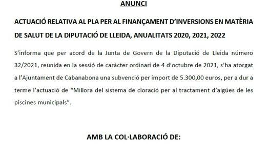 ACTUACIÓ RELATIVA AL PLA PER AL FINANÇAMENT D'INVERSIONS EN MATÈRIA DE SALUT DE LA DIPUTACIÓ DE LLEIDA, ANUALITATS 2020, 2021, 2022