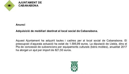 Adquisició de mobiliari destinat al local social de Cabanabona