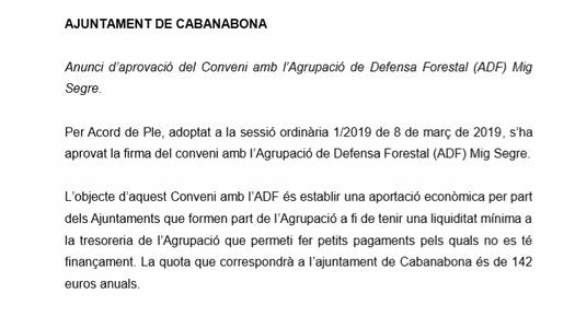 Anunci d'aprovació del Conveni amb l'Agrupació de Defensa Forestal (ADF) Mig Segre