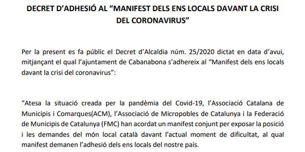 """Decret d'adhesió al """"Manifest dels ens locals davant la crisi del coronavirus"""""""