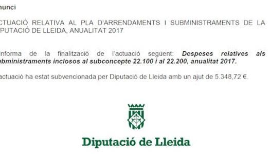 Pla d'arrendaments i subministraments de la Diputació de Lleida, anualitat 2017