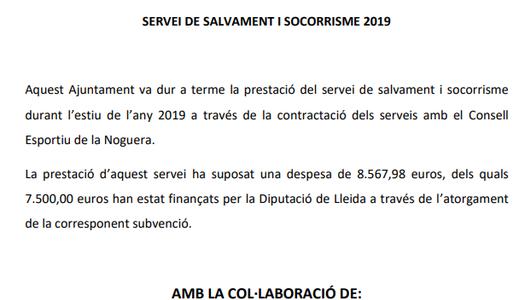Servei de salvament i socorrisme 2019